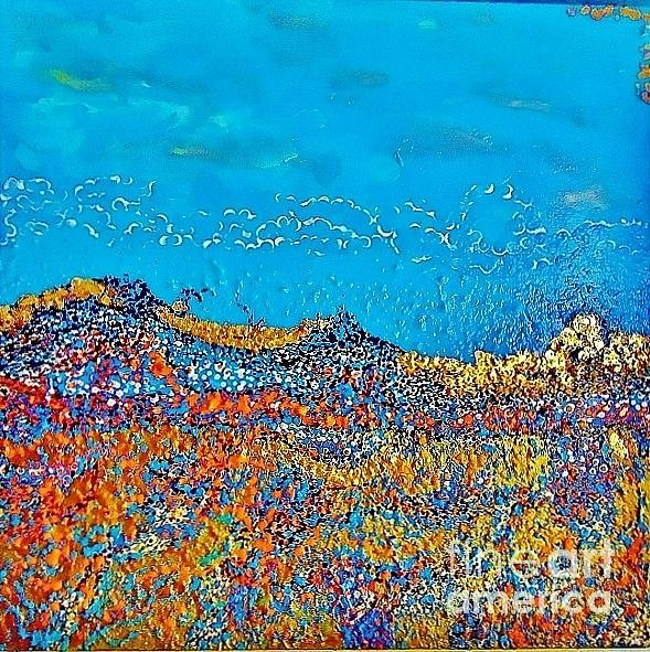 3d Abstrayermolenko евгений ермоленко Cubism Palette Knife Blue Acrylic Golden Acrylic Large Abstract Paintings Painting - Thunderstorm by Evgeniy Eugene Yermolenko