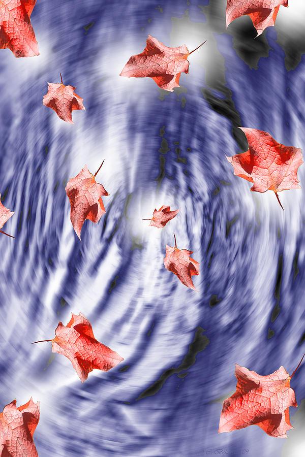 Fall Digital Art - Thunderstorm Leaves  by Cathy  Beharriell