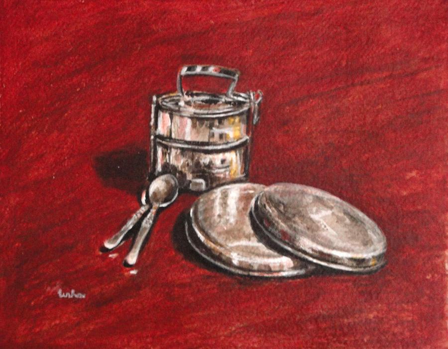 Tiffin Painting - Tiffin Carrier - Still Life by Usha Shantharam