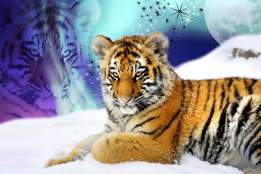 Tigers Digital Art - Tiger Treasures by Julie L Hoddinott