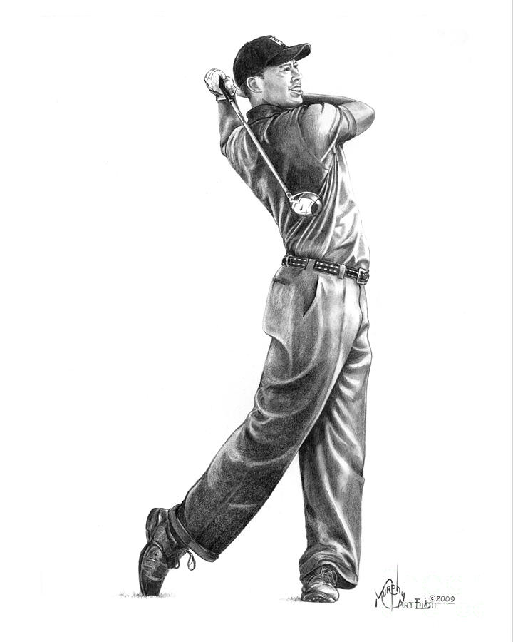 Tiger Woods Drawing - Tiger Woods Full Swing by Murphy Elliott