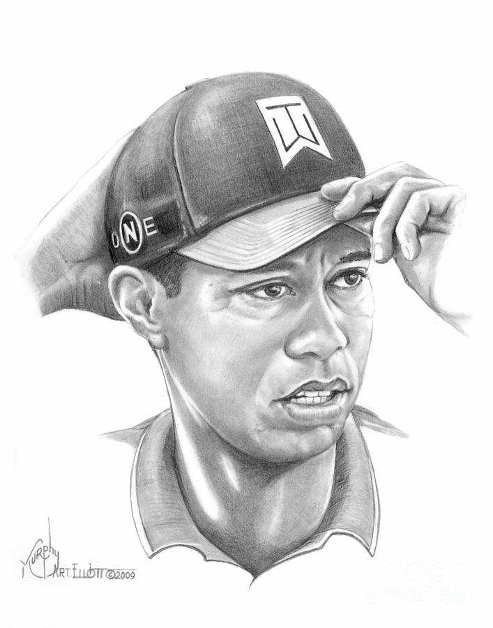 Tiger Woods Game On Drawing By Murphy Elliott