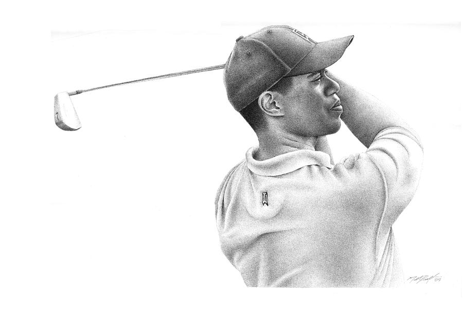 Tiger Woods Drawing By Matthew Riedl