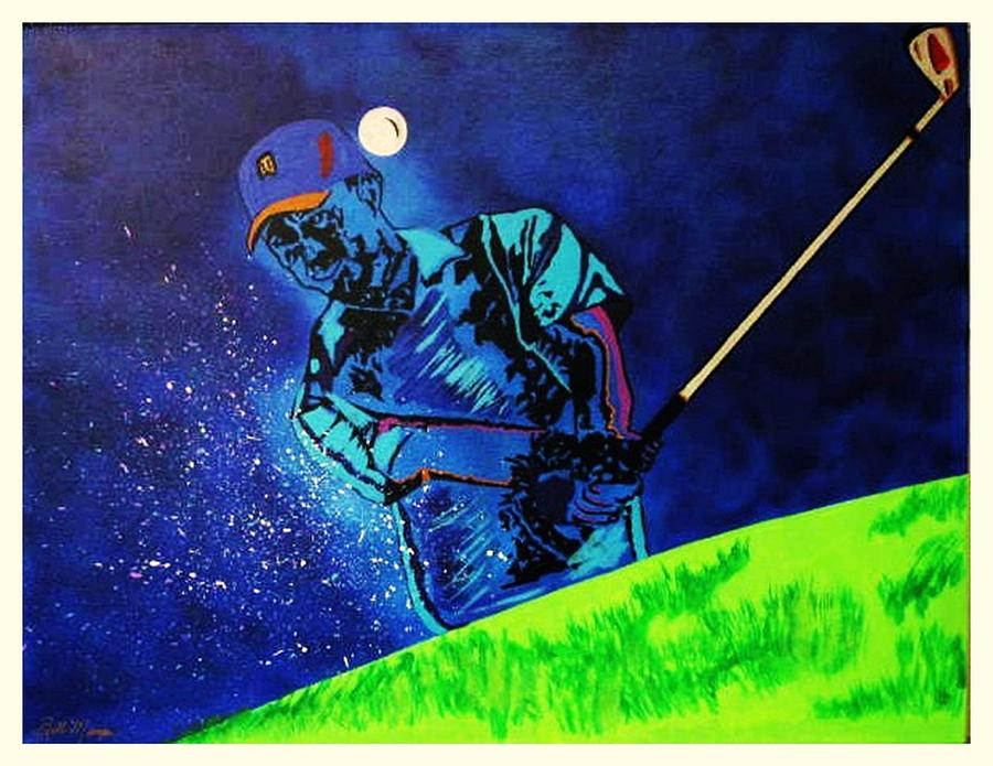 Tiger Woods Paintings Painting - Tiger Woods-playing In The Sandbox by Bill Manson