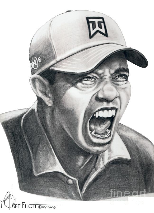 Tiger Woods-roaring Tiger Drawing By Murphy Elliott