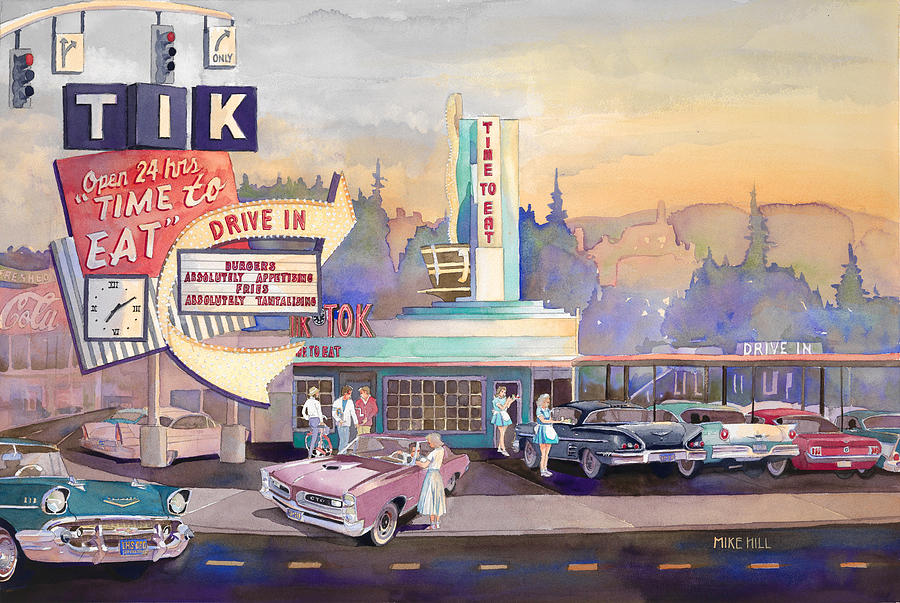 Tik Tok Tick Tock Drive In Drive-in Cars Autos Automobile Car Chevrolet Ford Mustang Pontiac Gto Impala Time To Eat Cruise Sandy Intersection Date Stop Light Car Hop Burgers Fries Shake Portland Oregon Sunset  Painting - Tik Tok Drive-inn by Mike Hill