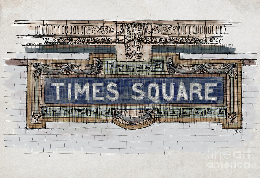 Tile Mosaic Sign Times Square Subway New York Handmade Sketch By