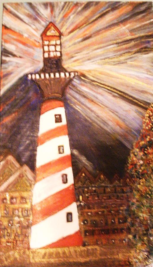 Tilting Lighthouse Fiery Sky Painting