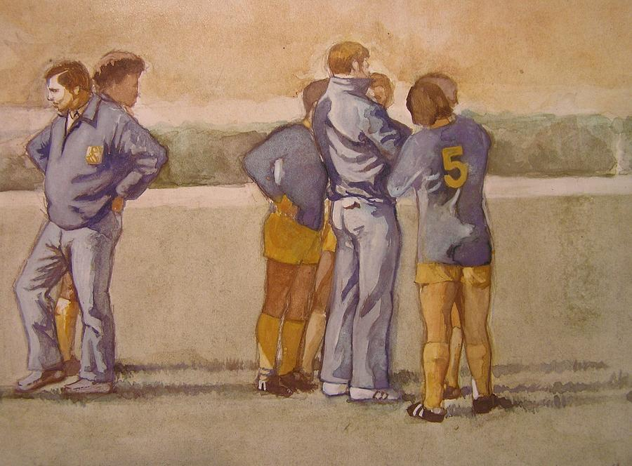 Soccer Painting - Time Out by Nigel Wynter