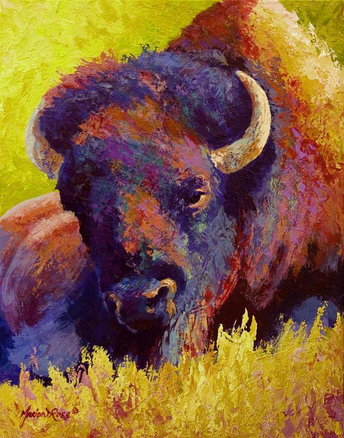 Bison Painting - Timeless Spirit - Bison by Marion Rose