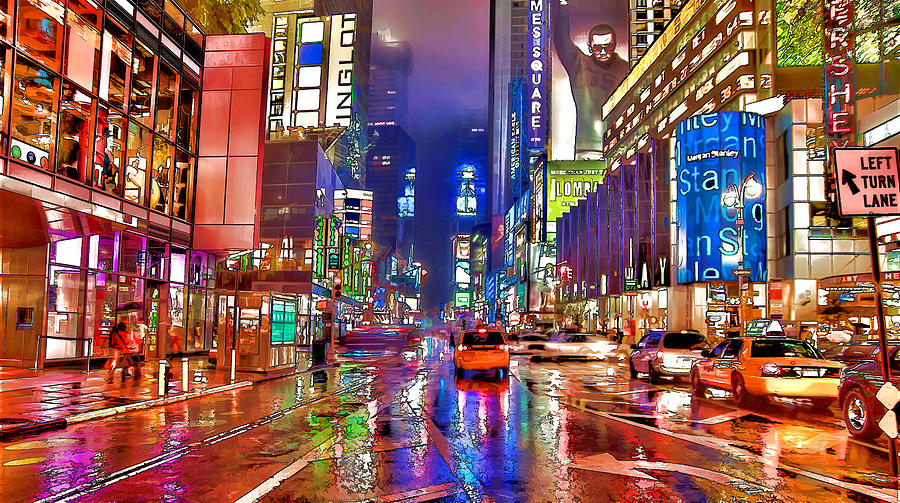 Times Square At Night In New York City Painting By Lanjee Chee