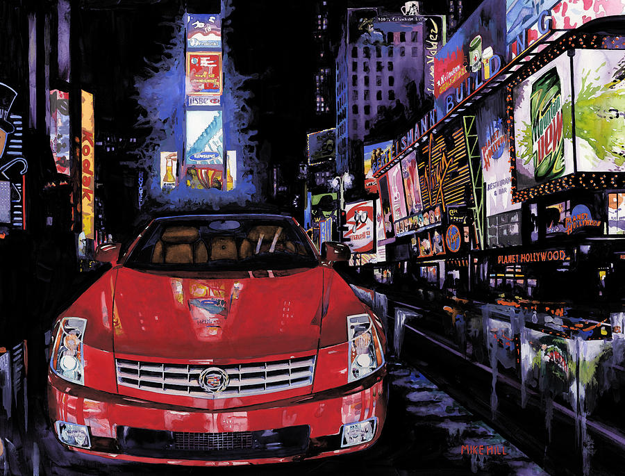 2008 Red Cadillac Caddy Cad Times Square New York City Lights Cityscape Night Mountain Dew Painting - Times Square ....cadillac by Mike Hill