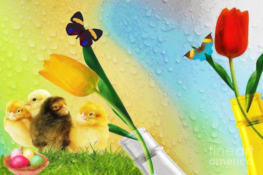 Bottle Digital Art - Tiptoe Through The Tulips by Liane Wright