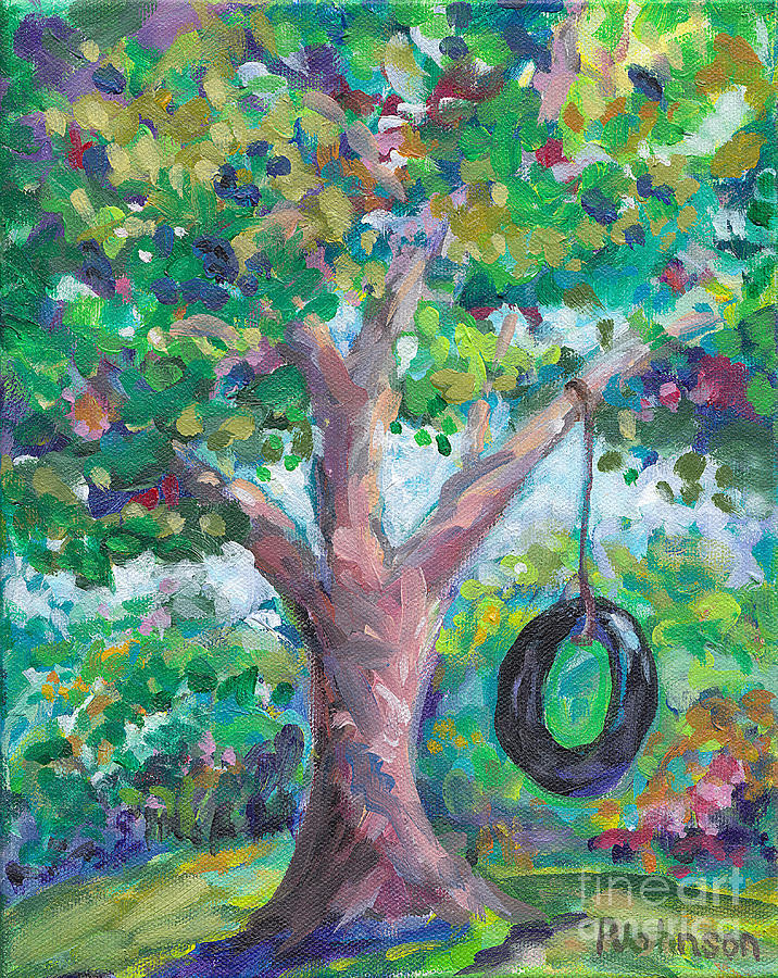 Tire Swing Painting by Peggy Johnson