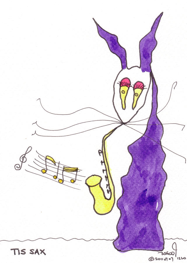 Purple Painting - Tis Sax Lady by Tis Art