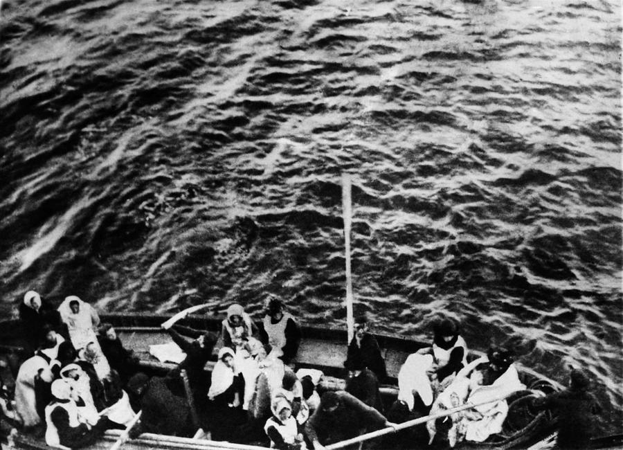 1910s Photograph - Titanic. A Boatload Of Titanic by Everett