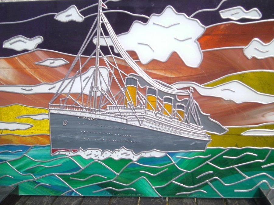 Titanic Glass Art - Titanics Last Sunset In Beautiful Stained Glass. by Robin Jeffcoate