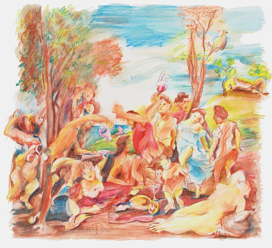 Titian Drawing - Titian Bacchanalia Color by Gary Peterson