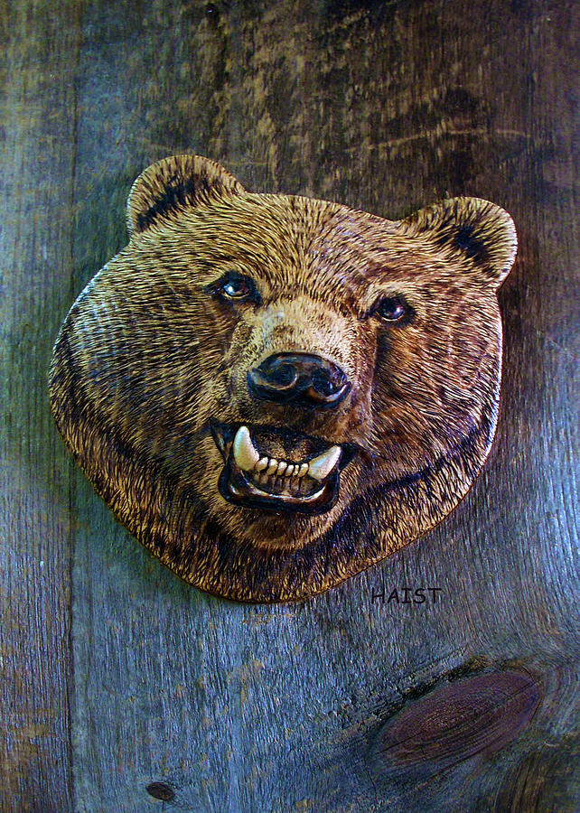 Bear Pyrography - Together Again by Ron Haist