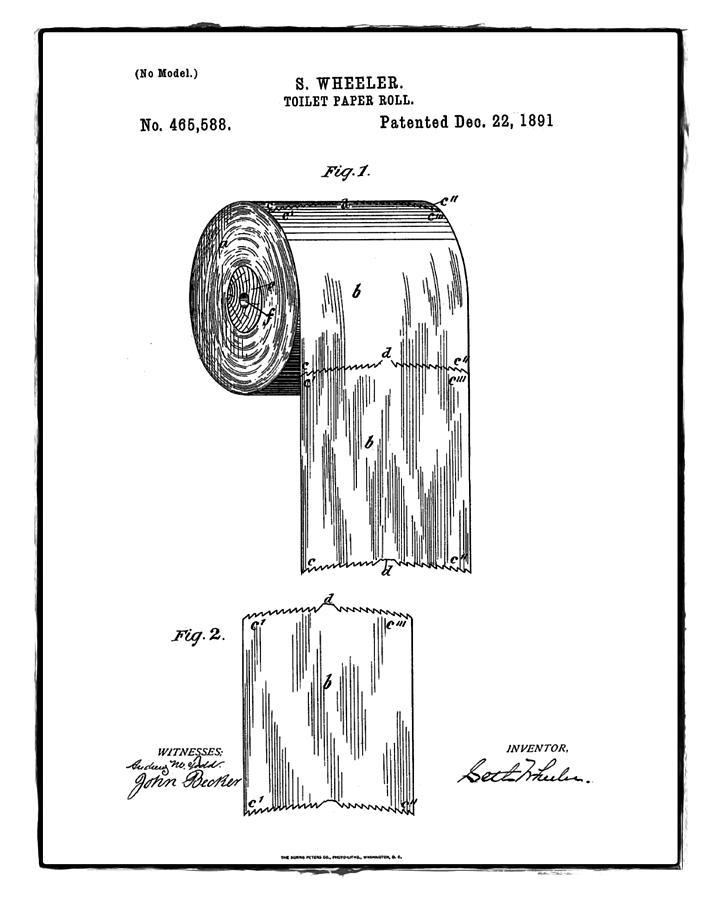 Toilet Paper Roll Patent 1891 White Photograph By Bill Cannon