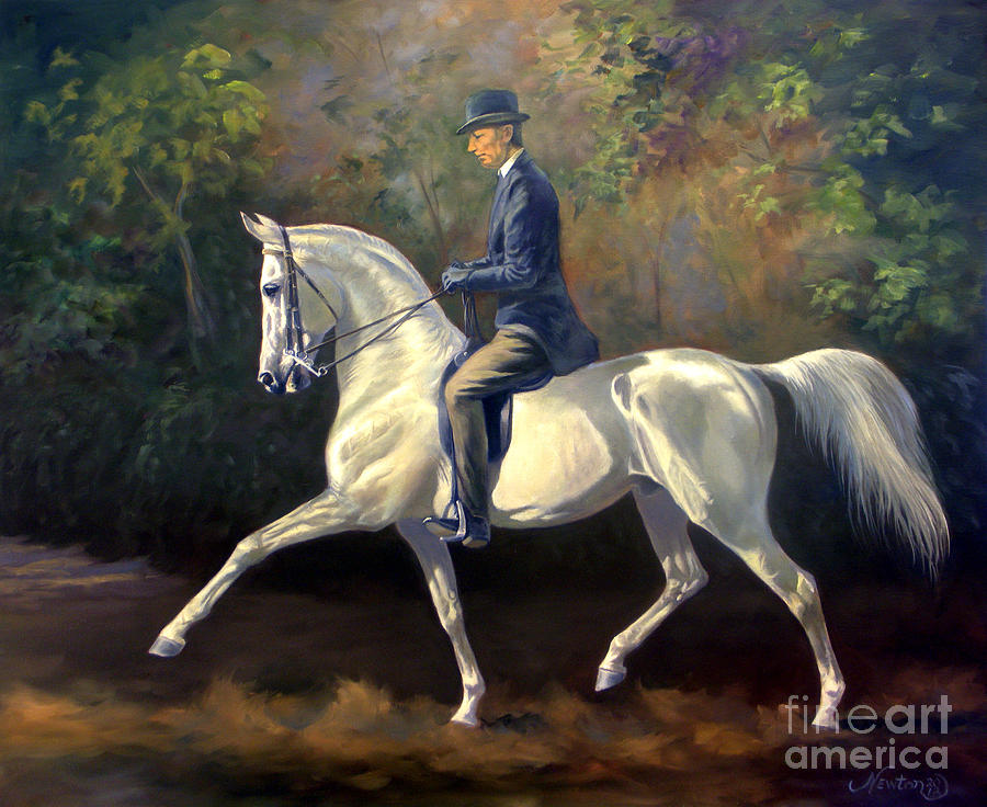Horse Painting - Tom Bass And Columbus by Jeanne Newton Schoborg