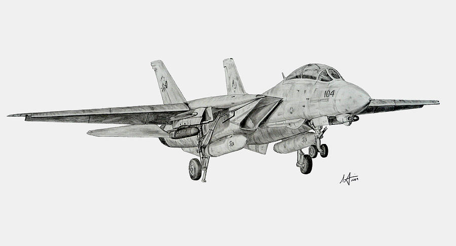 Tomcat Drawing - Tomcat Almost Home by Nicholas Linehan
