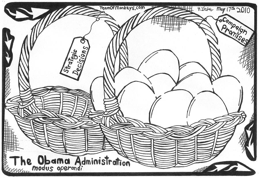 Obama Drawing - Too Many Eggs In One Basket By Yonatan Frimer by Yonatan Frimer Maze Artist
