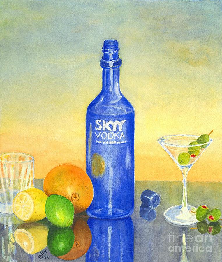 Vodka Painting - Too Many Skies by Karen Fleschler