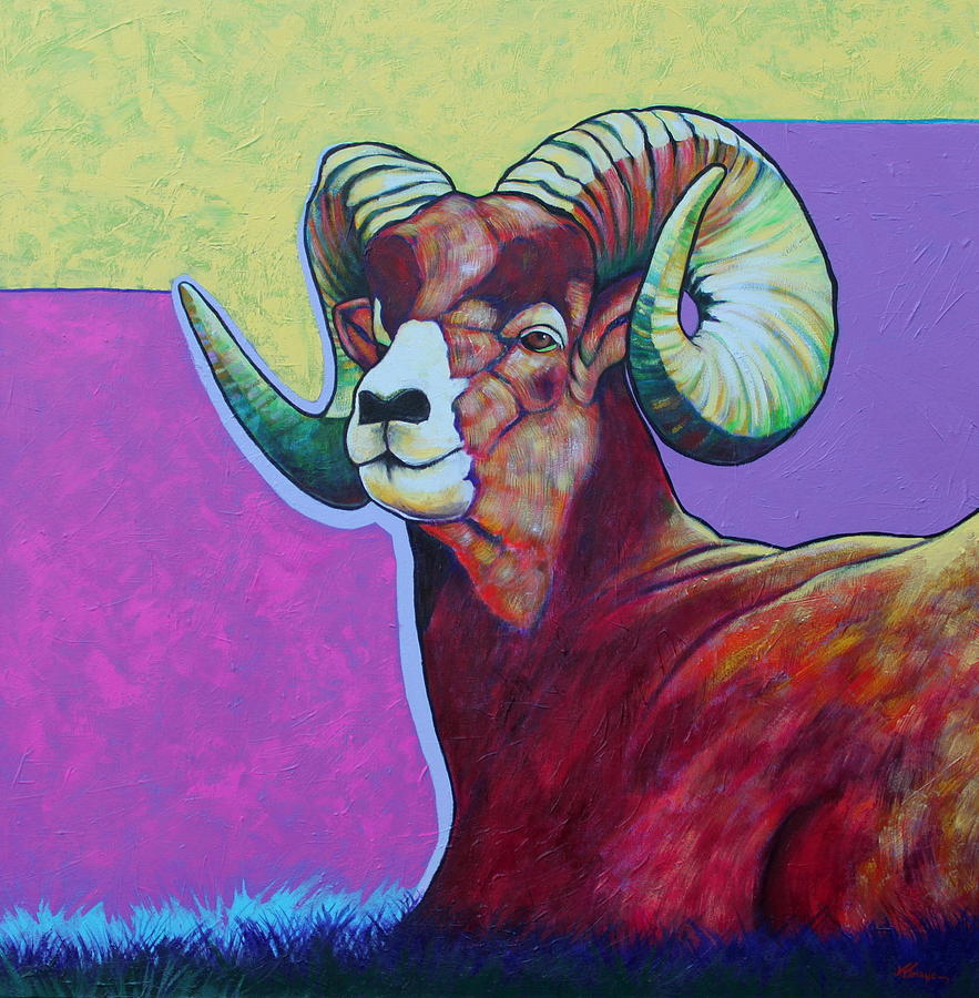 Wildlife Painting - Top Heavy Big Horn by Joe  Triano