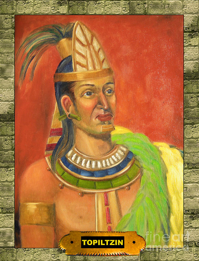 Aztec Painting - Topiltzin Illustration by Lilibeth Andre