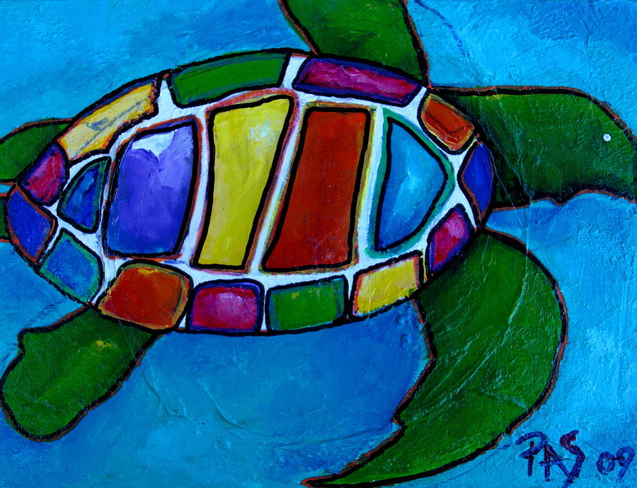 Colorful Turtle Painting - Tortuga by Patti Schermerhorn