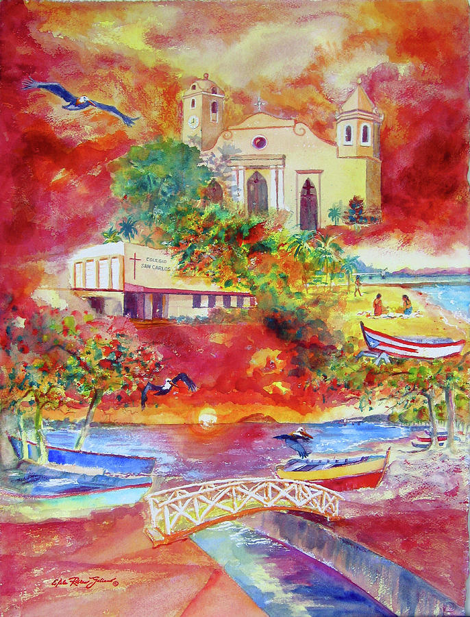 Watercolor Paintings Painting - Tour Around Aguadilla Puerto Rico by Estela Robles