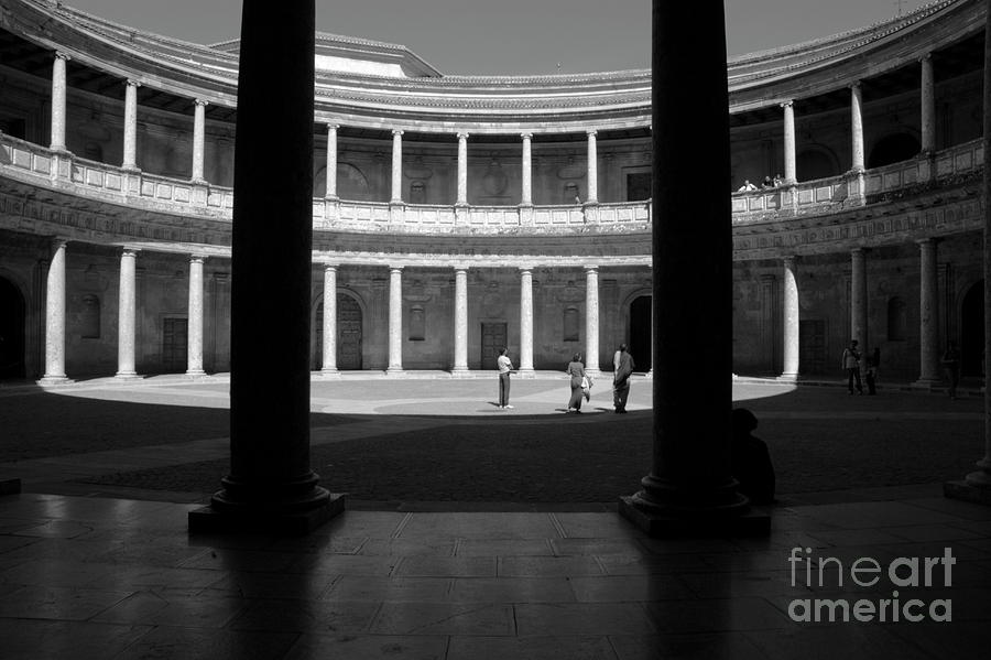 Alhambra Photograph - Tourists Inside A Courtyard At The Palace Of Charles V At Alhambra by Sami Sarkis