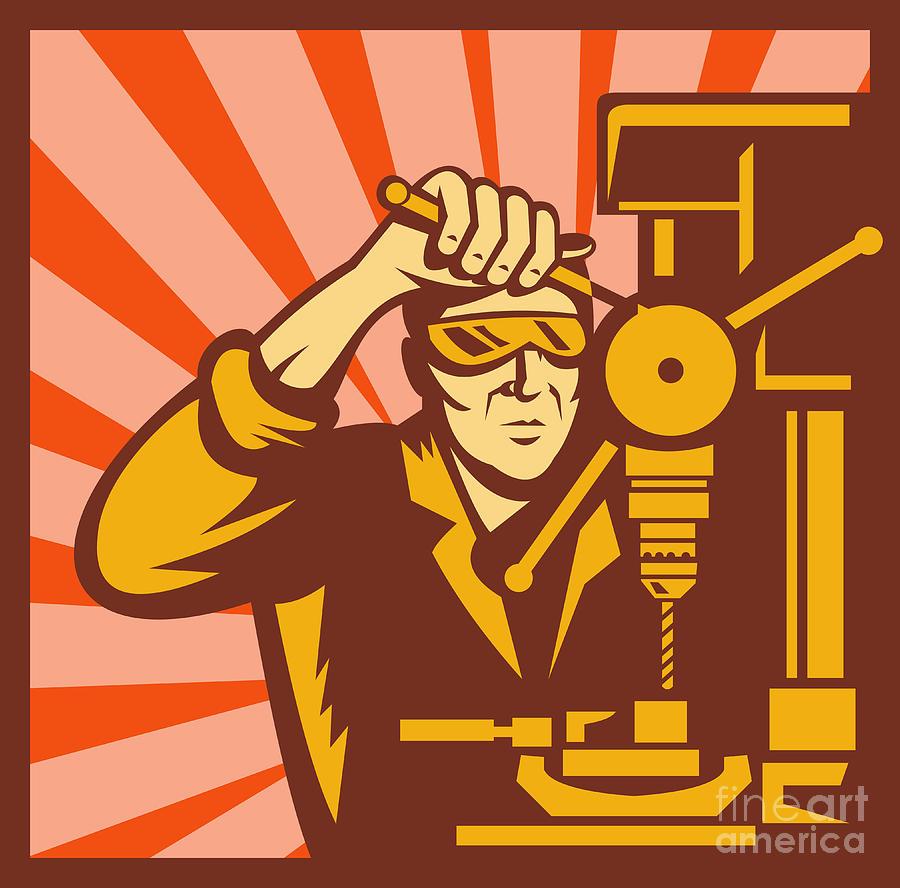 Worker Digital Art - Trade Worker Drill by Aloysius Patrimonio