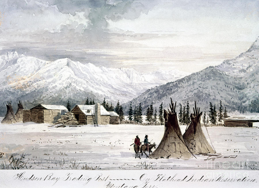 1860 Painting - Trading Outpost, C1860 by Granger