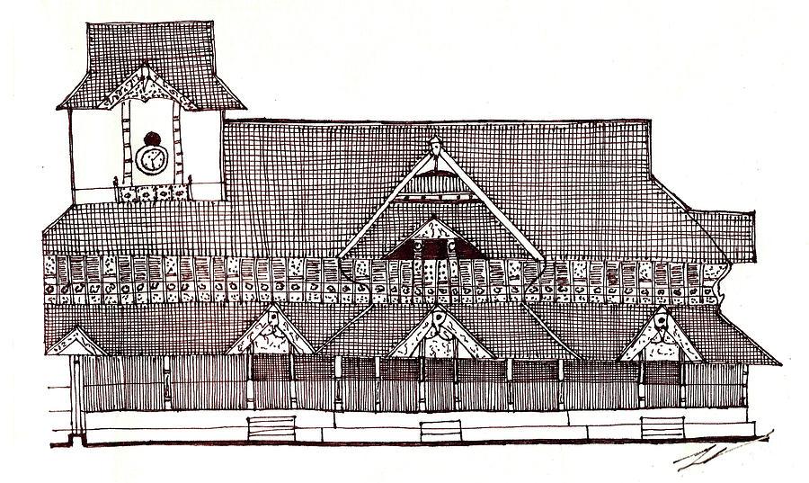 Traditional House Drawing - traditional Kerala house by Farah Faizal