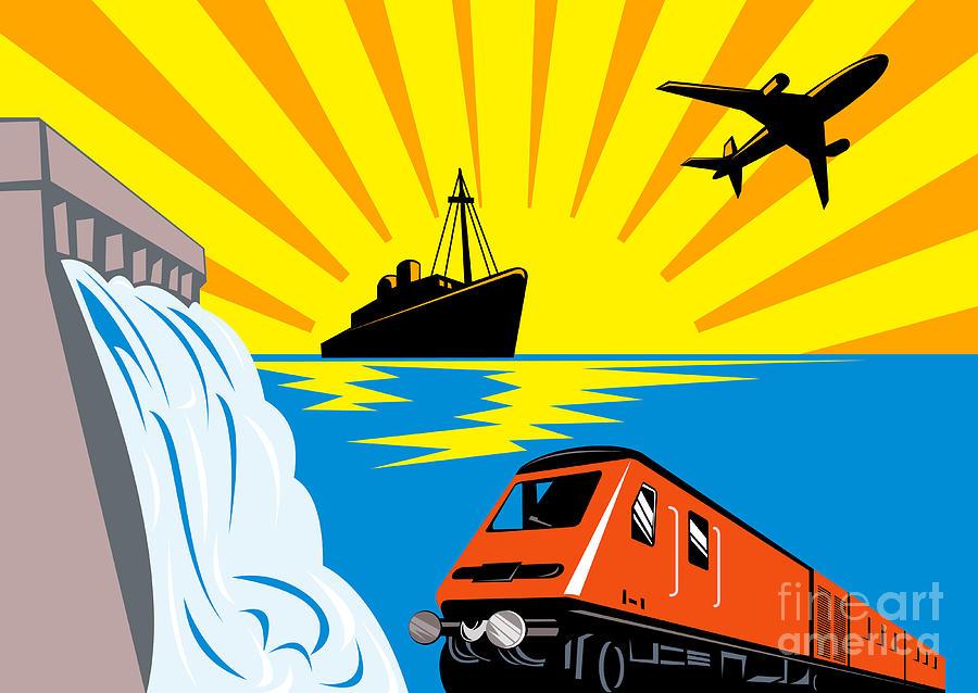 Illustration Digital Art - Train Boat Plane And Dam by Aloysius Patrimonio