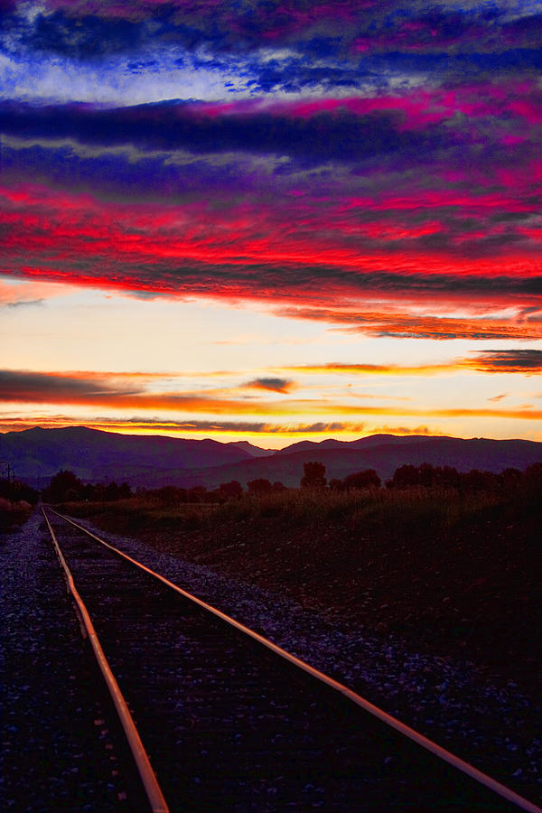 Train Tracks Photograph - Train Track Sunset by James BO  Insogna
