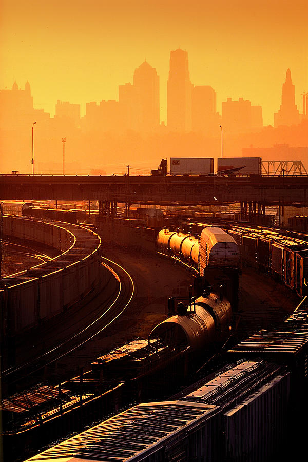 Train Photograph - Trains At Sunrise by Don Wolf