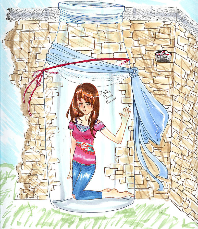 Trapped Inside Red String Blue Ribbon Key Keyhole Door In Broken Wall Chain Wire Heart Closed Let Your Walls Fall Down Manga Anime Girl Teen Woman Lady Shiny Sad Drawing - Trapped by Shelby Davis