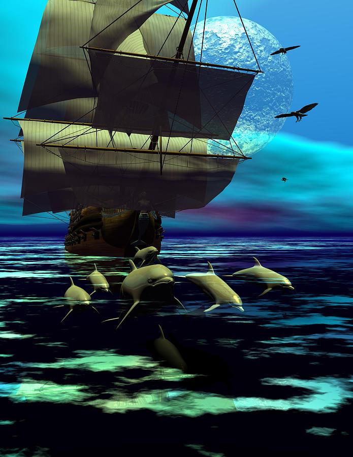 Bryce 3d  Fantasy Dolphins   Sailing Windjammer \\\sailing Ship\\\ Sailing Digital Art - Traveling Companions by Claude McCoy