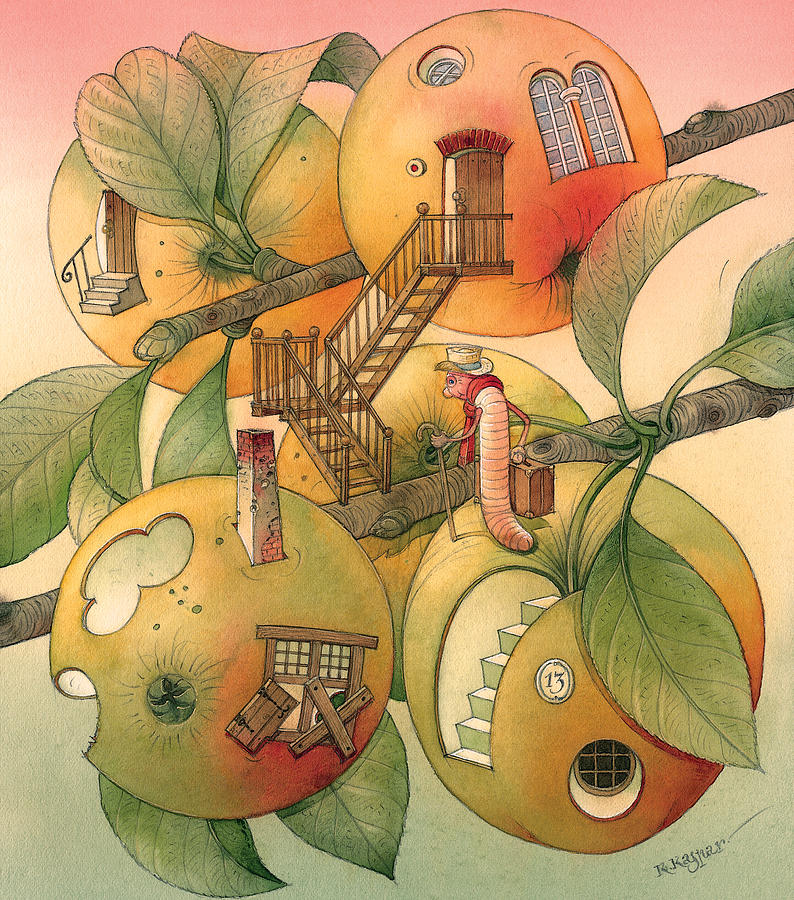 Worm Autumn  Apple Garden Home Tree Evening Painting - Trawelling Worm by Kestutis Kasparavicius