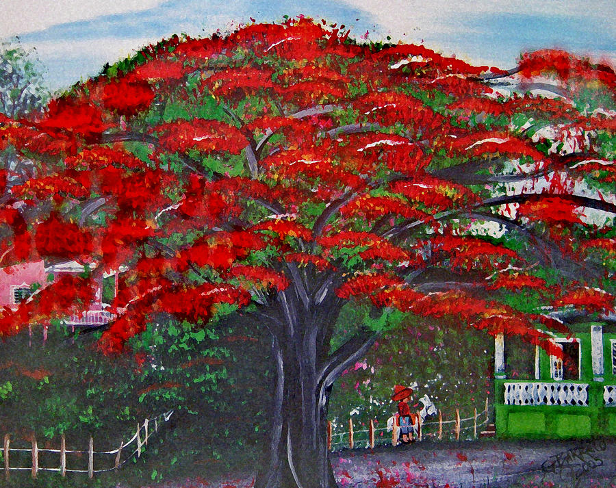 Flamboyant Tree Painting - Treasures Of Puerto Rico by Gloria E Barreto-Rodriguez