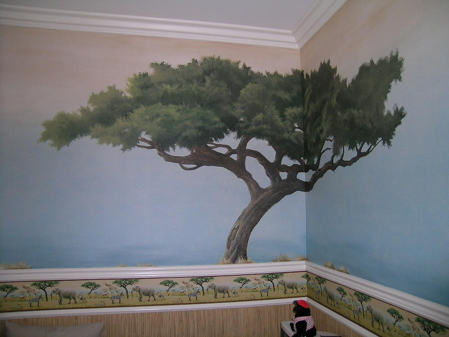 Tree mural painting by michael ryan for Average cost of mural painting