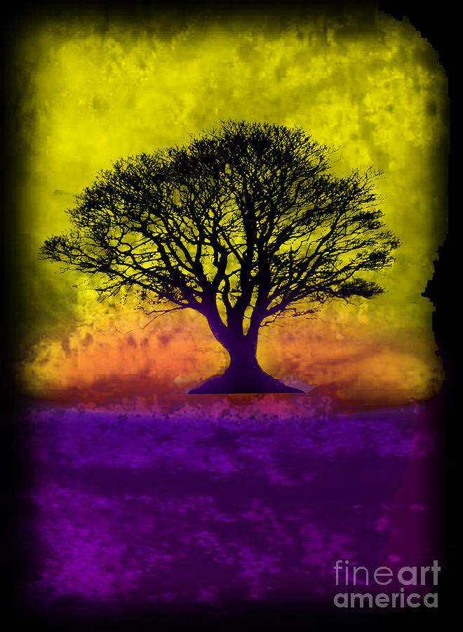 Original Painting - Tree Of Life - Yellow Sunburst Sky by Robert R Splashy Art