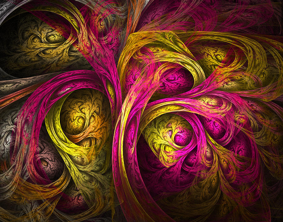 Fractal Digital Art - Tree Of Life In Pink And Yellow by Tammy Wetzel