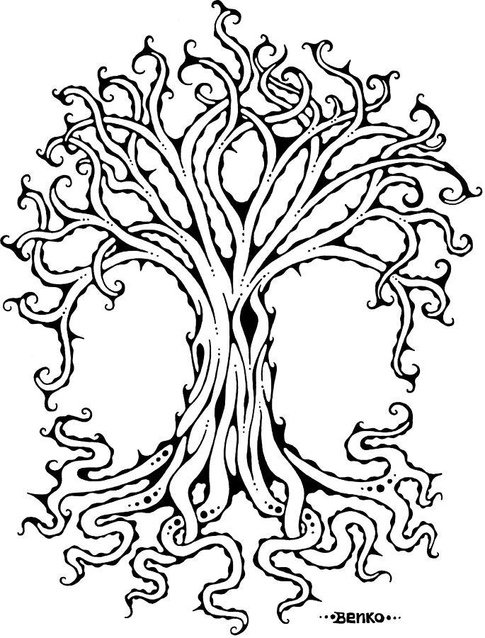 Tree Of Life Drawing - Tree Of Life by John Benko