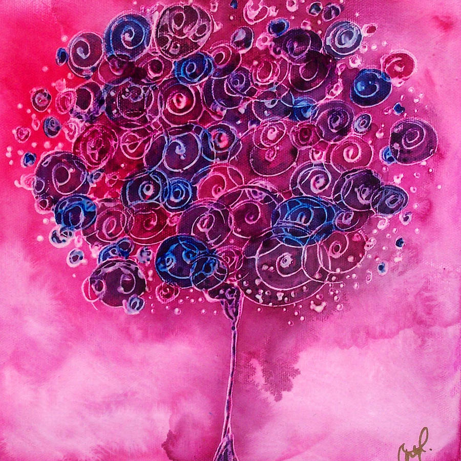 Tree Painting - Tree Of Life Pink Swirl by Christy  Freeman