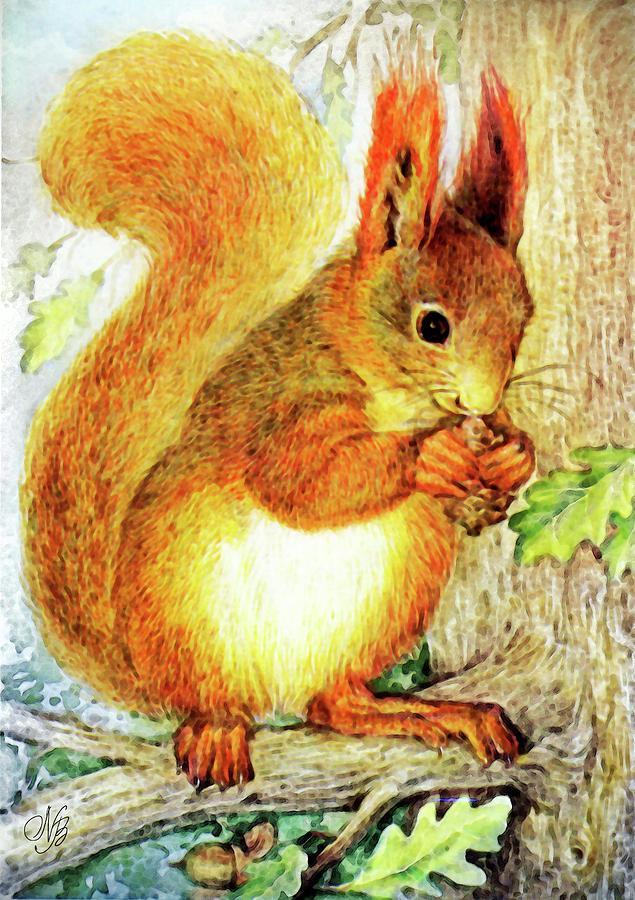 Squirrel Painting - Tree Squirrel by Natalie Berman