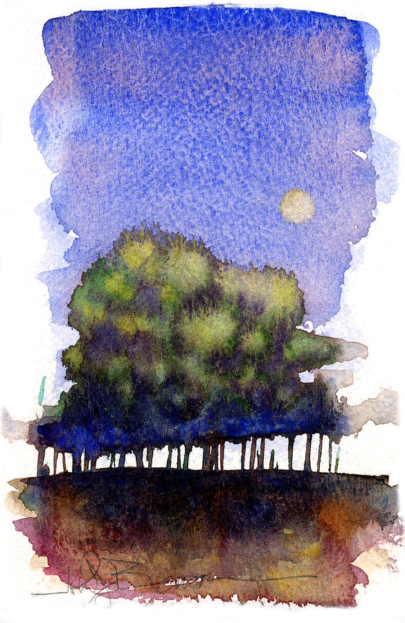 Trees Painting - Trees At Moon Rise by John D Benson